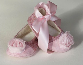 Baby Shoes, Pink Tweed Couture Baby Ballet Slipper, Toddler Ballet Flat, Dress up Toddler Shoes, Bootie, Crib Shoe, Newborn Shoe, Baby Souls