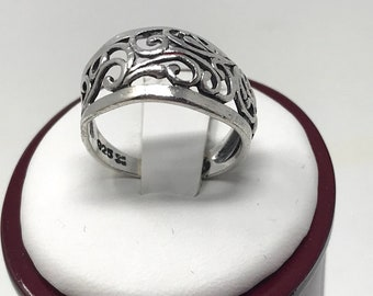 Vintage 925 Sterling Silver Filigree Ring Size 7
