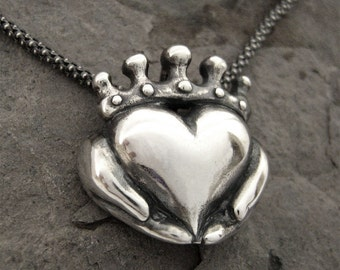 Handmade Claddagh Necklace - Ready to Ship, Claddagh pendant, Sterling Claddagh, Celtic Jewelry, Irish Promise Pendant, Gift for her 12