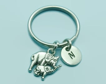 Elephant and baby charm initial keychain, elephant keyring accessory, personalised keychain, initial gift for her/him, elephant gift