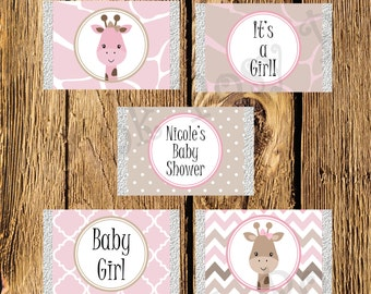 Printable Pink Giraffe Girl Baby Shower Mini Candy Bar Wrappers