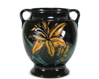 Black Stoneware Jar with Tiger Lily Vintage Black Cookie Jar