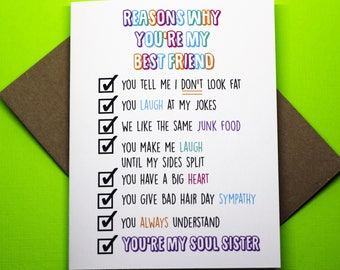 Reasons Why You're My Best Friend Soul Sister Funny Cute Friendship Greeting Card