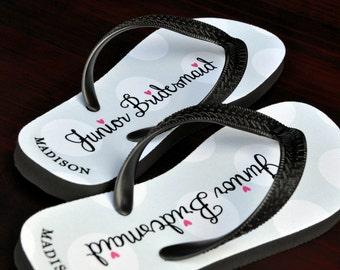 Personalized Flip Flops, Junior Bridesmaid, Custom Wedding Flip Flops, Wedding Flip Flop, Flip Flops, Personalized Name Sandals, 125JBFF