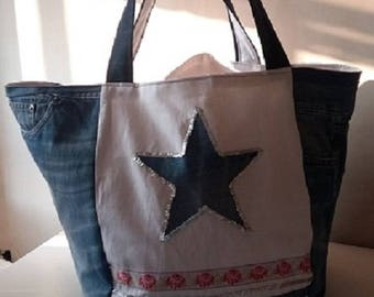 Jeans and cotton tote bag with appliqué star
