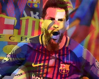 Lionel Messi / FC Barcelona  color emotion 12 x 16