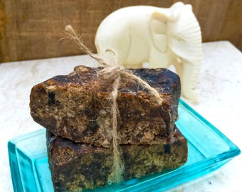 Raw Organic African Black Soap Straight from Ghana, Debris Free and Fair Trade (Unscented OR Lavender Essential Oil)