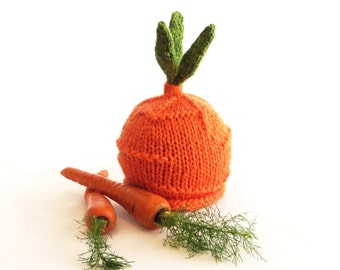 Carrot Top Hat - Baby Infant Vegetable Hat - 0-1 year - Made to Order