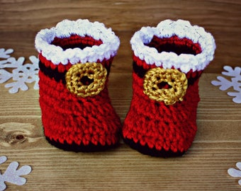 Crocheted Santa Baby Booties, Santa Clause Boots, Baby Boots, Baby Christmas, Baby Christmas Booties, Baby Shower, Pregnancy Announcement