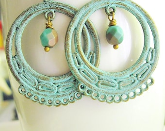 Patina Hoop Earrings, Filigree Earrings, Moroccan, Gypsy, turquoise blue, Bohemian Style, Tribal, Red, Boho Chic, Redpeonycreations
