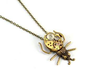 Steampunk Beetle Necklace, Bug Necklace, Beetle Pendant