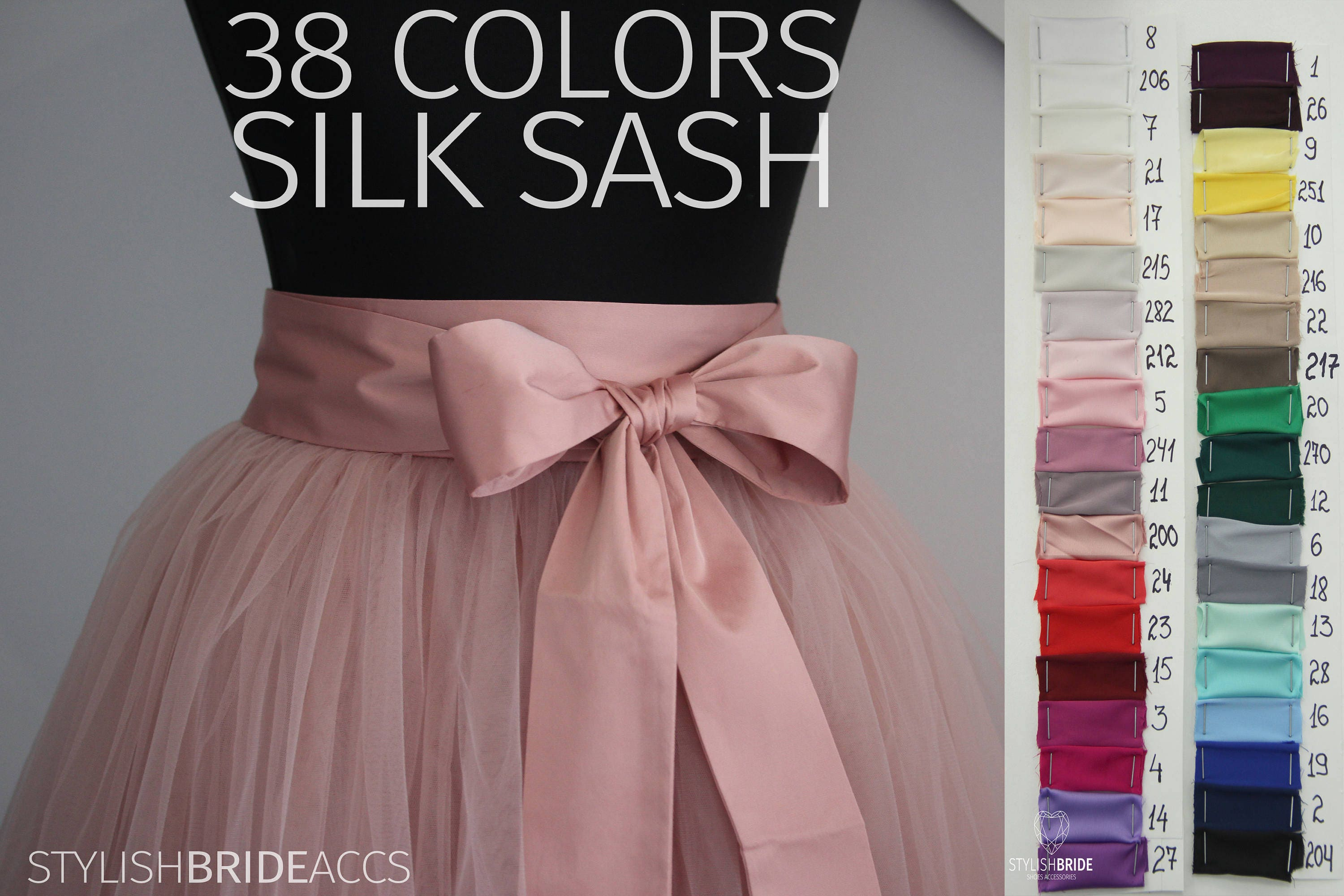 silk sash silk satin bow tulle skirt matching 38 colors of