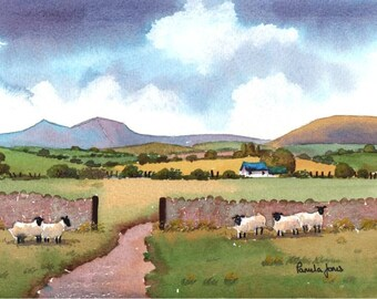 Watercolour Print, Sheep, In, The Brecon Beacons, Wales, 8ins x 6ins, Gift Idea,  Art and Collectibles, Home and Living