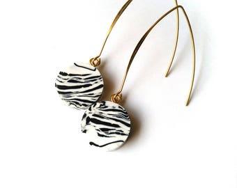 Geometric Minimal Marble Dangle Drop Earrings Modern Minimalist Statement FREE UK SHIPPING