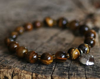 Bracelet From Gemstone Tiger Eye with Surgical Steel Apple Length 17 cm Brown colour