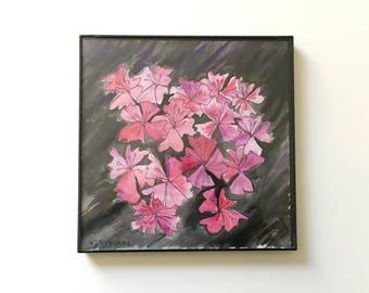 16/100: night azaleas - original framed watercolor illustration