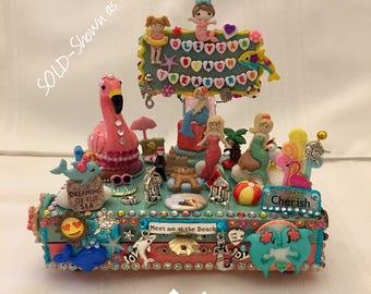 Personalized Trinket Box, Beach Theme Box For Girls, Mermaid, Dolphin and Flamingo Decor, Custom Beach Theme Trinket Box, Summer Decor