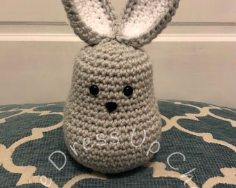 Crochet stuffed grey and white Spring Easter bunny