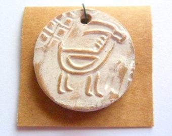 Petroglyph Goat Rustic Linen Glazed Terra Cotta Pendant Finding