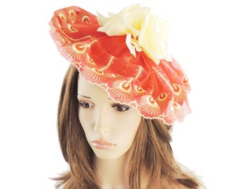 Seraphina Red & Pale Yellow Fascinator Hat for Weddings, Races, and Special Events With Headband