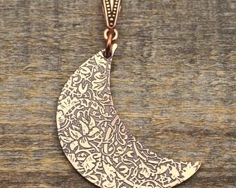 Copper crescent moon pendant, William Morris lotus flower design, 37mm
