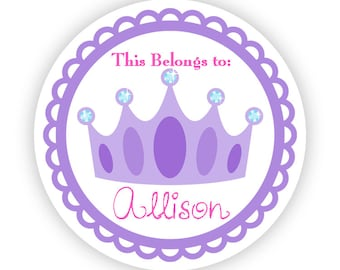 Name Label Stickers - Adorable Purple Fairytale Princess Crown Personalized Name Tag Label Sticker - Round Tags - Back to School Name Labels