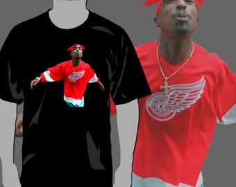 2Pac Tupac Shakur Red Wings T-Shirt Rap Hip-Hop - Full Color Glitter Print