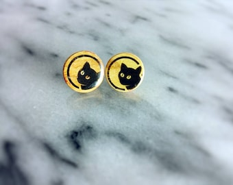 Cat olive wood stud earrings