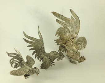 Fighting Roosters Figurines Set Lacquered Electroplated Nickel Silver EPNS