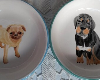 Puppy dog bowl, animal lovers golden lab retriever mix pug collie puppies doggie bowl puppy bowl dog wolves dish pasta bowl colorful dishes