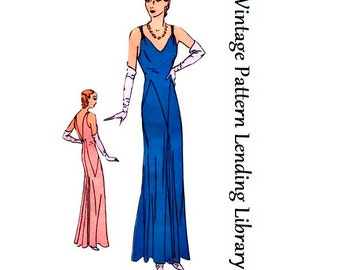 1931 Ladies Evening Gown With Deep Back - Reproduction Sewing Pattern #T5918