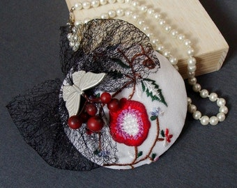 fascinator very embroidered