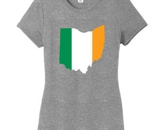 Custom Irish Flag State Silhouette - St. Patrick's Day Women's Fitted T-Shirt