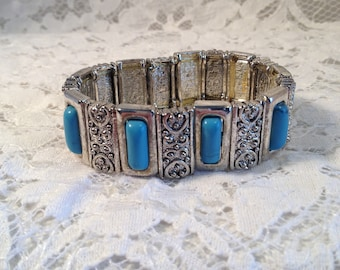 Vintage Silver and Turquoise Stretch Bracelet, Native American, Southwestern Style, Filigree Rectangles Between Turquoise Stones.