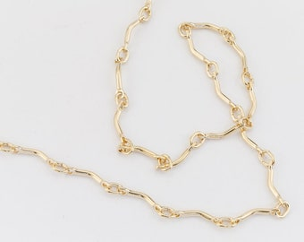 7.5mm x 3mm 14 Karat Gold Filled Small Curved Bar Chain #BGY089