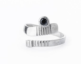 Sterling silver Ice Hockey adjustable ring