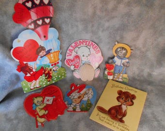 Vintage Group of 4 Mechanical Valentines and 1 Birthday Card