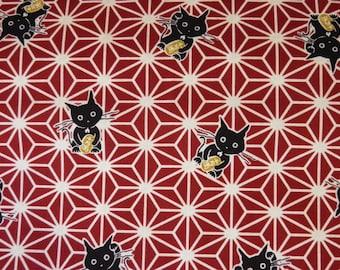Cat pattern with star on dark red 50 x 110 cm