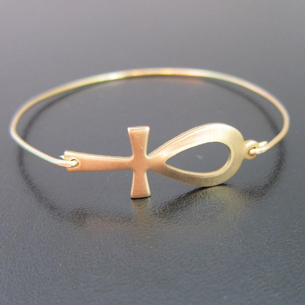 Gold Ankh Bracelet Ankh Bangle Bracelet Ankh Jewelry