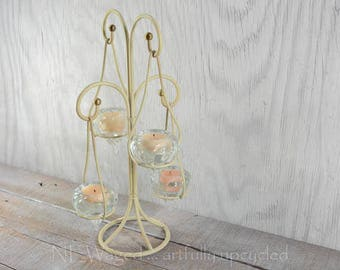 Vintage Candelabra with hanging glass votive candle holders, beige with gold