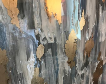 Gold and Blue Abstract Painting, High Gloss Resin Painting, Custom Canvas Painting
