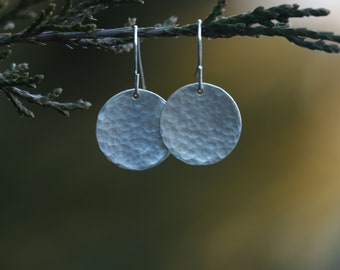 Full Moon Sterling Silver Hammered Disc Earrings