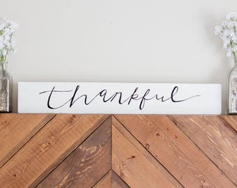 Thankful Sign Wood Sign   Home Decor