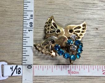 Vintage Gold Toned Pin Brooch Hummingbird Blue Rhinestones Used
