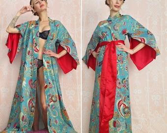 "One custom ""Haiku"" sleeve lined robe. Long bohemian kimono robe Wedding robe Art Deco robe with pockets Valentines day gift for her"