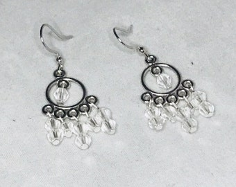 Swarvoski Crystal all silver|clear| wow factor elegant chandelier earrings|weddings|anniversary|gift