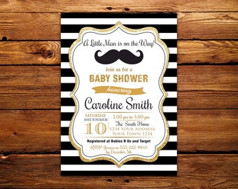 Little Man Baby Shower Invitation. Little Man Mustache Baby Shower Invitation. Mustache Baby Shower. Printable Black Gold White Baby Shower.