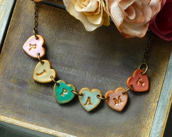 Mother's Day Necklace - Family Initials on heart tiles - Heart necklace - Letter necklace for Mom - 6 Charms