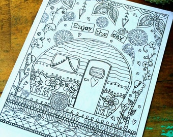 Enjoy the Day Adult Coloring Page -Camper/Floral-Lisa Kaus