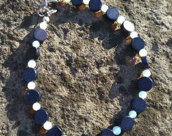 Opalite and blue goldstone able bracelet